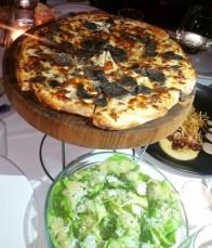 Pizza à la Truffle Noire - black truffle, flat bread, crème fraiche, scamoza