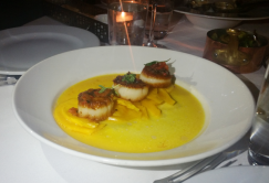 Coquilles St. Jacques Rôties - Maine diver scallops, braised saffron fennel, fire roasted pepper & black olives chimichurri