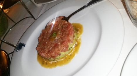 Tartare de Thon Bagatelle - ahi tuna tartar, avocado salad, lime soy vinaigrette, taro chips