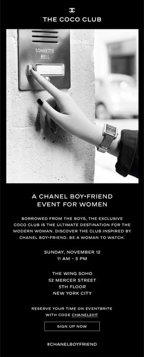 CHANEL BOY•FRIEND EVENT FOR WOMEN