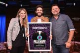 NEW YORK, NEW YORK - MAY 30: Pandora Head of Country Beville Dunkerley, Thomas Rhett and Storme Warren pose on stage during Pandora Sound On Thomas Rhett Center Point Road Powered By Marshalls on May 30, 2019 in New York City. (Photo by Theo Wargo/Getty Images for Pandora Media)